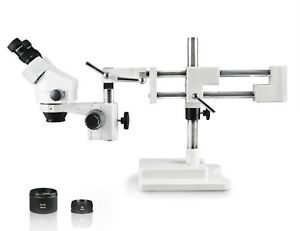 Vision Scientific Vs 5ez Binocular Zoom Stereo Microscope Double Arm Boom Stand