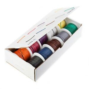 30 Awg Gauge Stranded Wire Kit 10 Color 100 Ft Each 0 0126 Dia Ptfe 600 Volts