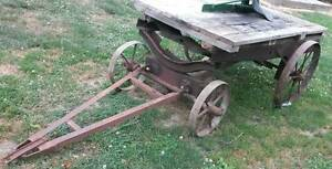 Old Homebuilt Hit Miss Gas Engine Truck Cart Cast Iron Wheel
