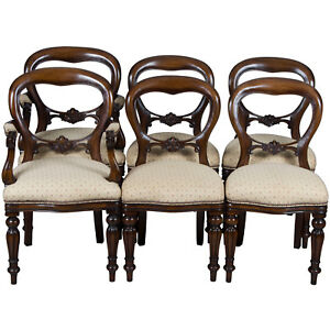 Victorian Style Antique Balloon Back Set Of Six Walnut Dining Room Chairs Fs
