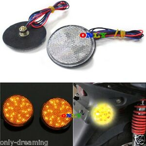 2x Round Reflector Amber Led Tail Brake Stop Light For 3rd Toyota Atv Suv Truck