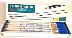 Nos 12 X Vintage A W Faber castell 7099b Pencil Shaped Eraser Stick W Brush Usa