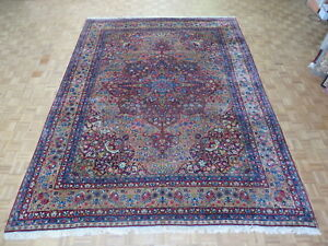 10 4 X 13 9 Hand Knotted Gold Persian Fine Antique Kerman Oriental Rug G2818