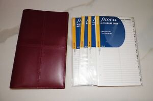 Filofax Brick Red Italian Leather Slimline Personal Organizer With Extras