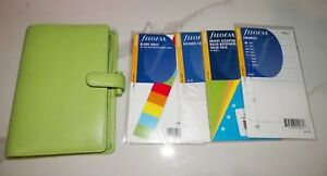 Filofax Rio Lime Green Pebbled Leather Personal Organizer With Extras