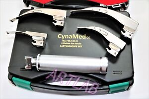 Premium Laryngoscope Set Of 4 Intubation Blades Medium Handle Cynamed