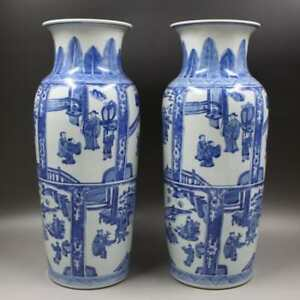Chinese Old Marked Pair Blue White Colored Figure Story Pattern Porcelain Vases
