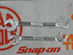 Snap On Tools Sae 4 Way Angle Open End Wrench 2pc Lot 9 16 11 16 Vs5218 Vs5222