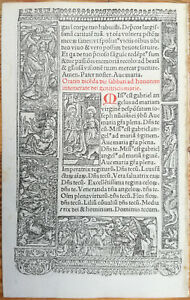 Book Of Hours Leaf Hardouin Woodcut Annunciation Virgin Gabriel Paris 1510