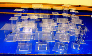 31 Lot Clear Acrylic Pedestal Display Risers Mixed Sizes