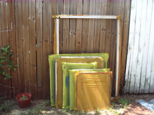 Used Aluminum Silk Screen Printing Frames Asst Sizes
