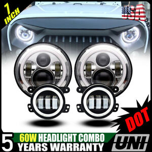 7 Led Headlight 4 Fog Lamp turn Signal fender Lamp Kit 07 17 Jeep Wrangler Jk