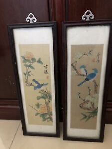 Pair Of Old Chinese Watercolor Painting Hand Painted Signed Sealed