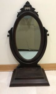 Rare 19th C Antique Victorian East Lake Shaving Vanity Cheval Dresser Mirror