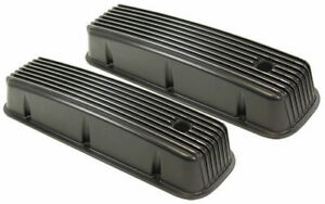 1965 95 Bbc Chevy Black Aluminum Finned Valve Covers With Hole Tall 396 502