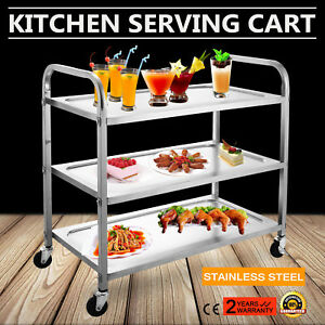 Kitchen Stainless Steel Serving Cart Dining Rolling Workstation New Generation