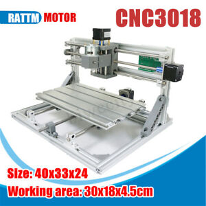 Diy Mini 3 Axis 3018 Cnc Laser Machine Pcb Milling Wood Router Engraver Printer