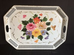 Antique Vintage Tole Painted Metal Serving Tray With Cutout Handles