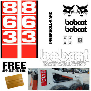 Bobcat 863 V1 Skid Steer Set Vinyl Decal Sticker Bob Cat Made In Usa Free Tool