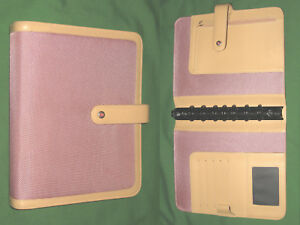 Classic 1 0 Pink Nylon Tan Faux Leather Franklin Covey Planner Binder 4350