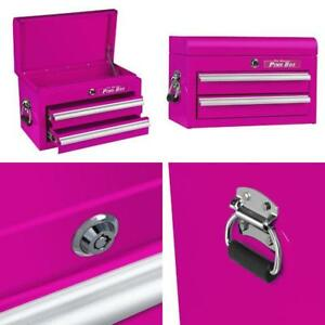 The Original Pink Box 18 2 drawer 18g Steel Mini Storage Chest Lid Compartment