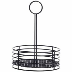 Hubert Table Top Condiment Caddy Holder Black Powder coated Metal 8 1 2 dia X