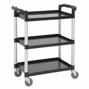 Hubert Small Utility Cart With 3 Shelves Black Plastic 31 9 10 l X 17 1 8 w X