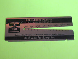 Vintage Bethlehem Pacific Steel Wire Gage Measuring Tool Advertising