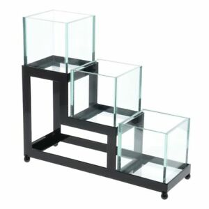 Cal mil Condiment Holder 3 Tier Black Metal With Faux Glass 13 l X 4 w X 12 h