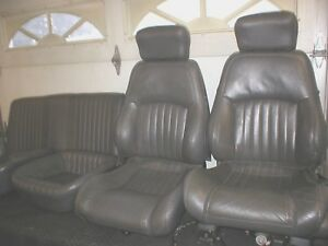 1982 2002 Camaro Firebird Grey Leather Seats Power Lumbar Set Front