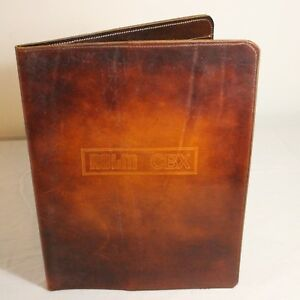 Vtg Leather Full Grain Padfolio Portfolio Rolm Cbx Resume Notepad Holder Mil