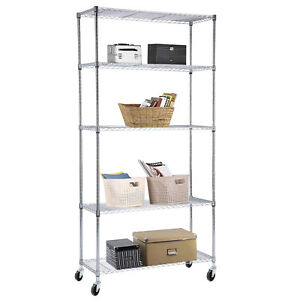 Suncoo 5 Tier Wire Shelving Rack Heavy Duty Chrome Adjustable Steel Shelf