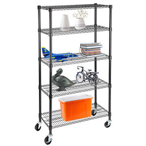 Suncoo 5 Tier Wire Steel Shelving Stainless Unit Storage Rack Adjustable Black