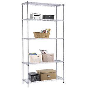 Suncoo 5 Tier Wire Steel Shelf Shelving Rack Chrome L36 X H73 X W14