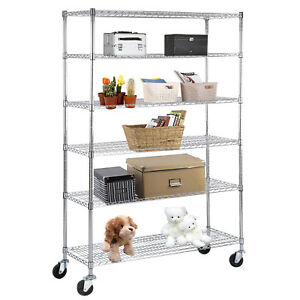 Suncoo 6 Tier Heavy Duty Wire Shelving Rack Steel Shelf Chrome L48 xh82 xw18
