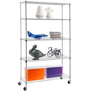 Suncoo 5 Tier Heavy Duty Wire Shelving Rack Chrome Steel L48 X H82 X W18
