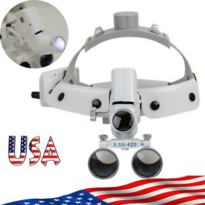 Us Dental Binocular Loupes Surgical Glass Magnifier led Headlight 3 5x 280 380mm