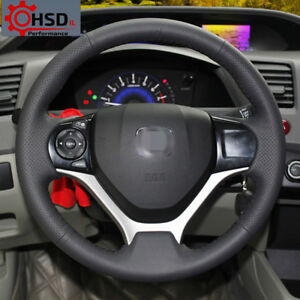 Hand Stitched Sewing Leather Steering Wheel Cover For Honda Civic 2012 2014