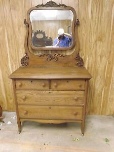 Antique Tiger Oak Dresser W Mirror