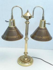 Working Hollywood Regency Gold Metal Brown 2 Shade Toleware Table Lamp As Is