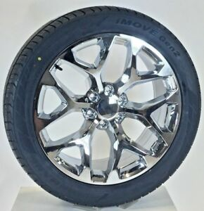 Chevy Silverado Chrome Snowflake 22 Wheels Tires 2000 2018 Tahoe Suburban