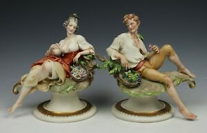 Capodimonte Giuseppe Cappe 2 Figurines Peasant Man And Woman Worldwide