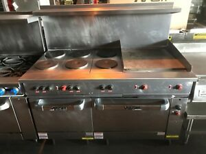 Vulcan Commercial Electric Range 60 w 6 Burners 2 Ovens 23 5 Griddle