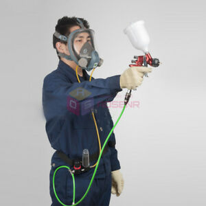 Air Fed Full Face Mask Kit Hood Respirator For Paint Spray W 3 Stage Filter New