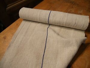 A Homespun Linen Hemp Flax Yardage 5 Yards X 21 Blue Stripe 10573