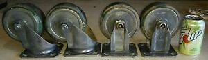 Set Of 4 Bassick 5 Swivel Solid Casters W Grease Inserts