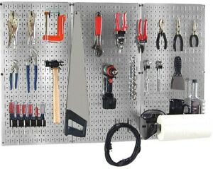 Pegboard Tool Organizer Kit Garage Wall 32x48 Metallic Galvanized Steel