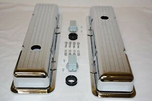 Chrome Aluminum 1958 86 Chevy Ball Milled Short Valve Covers 283 305 327 350 Sbc