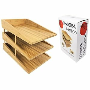 Kagura Bamboo Desk File Tray Office Organizer Perfect For Sorting Stacking Paper