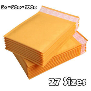 50 100x Self Seal Kraft Bubble Envelopes Padded Mailer Shipping Bag Lots
